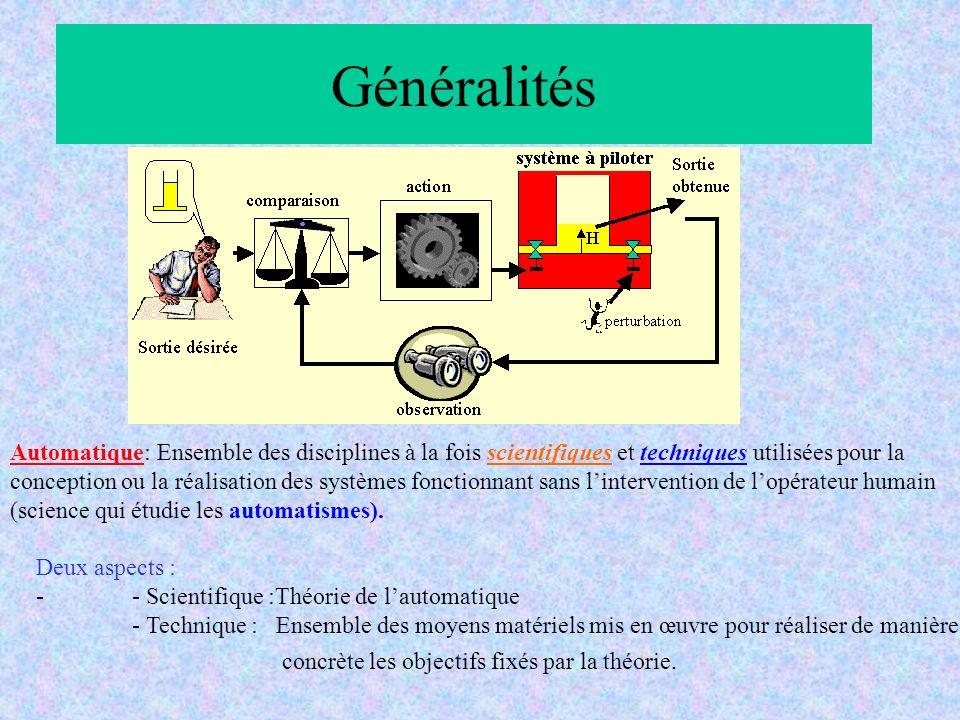 Généralités Automatique: Ensemble des disciplines à la fois scientifiques et techniques utilisées pour la.