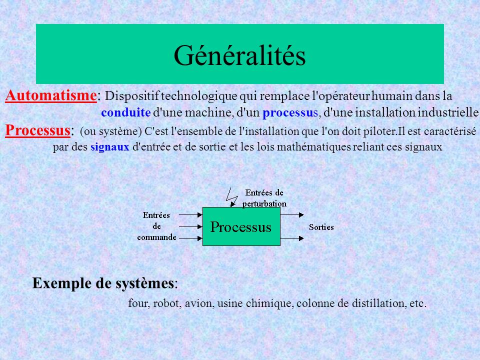 Généralités Automatisme: Dispositif technologique qui remplace l opérateur humain dans la.
