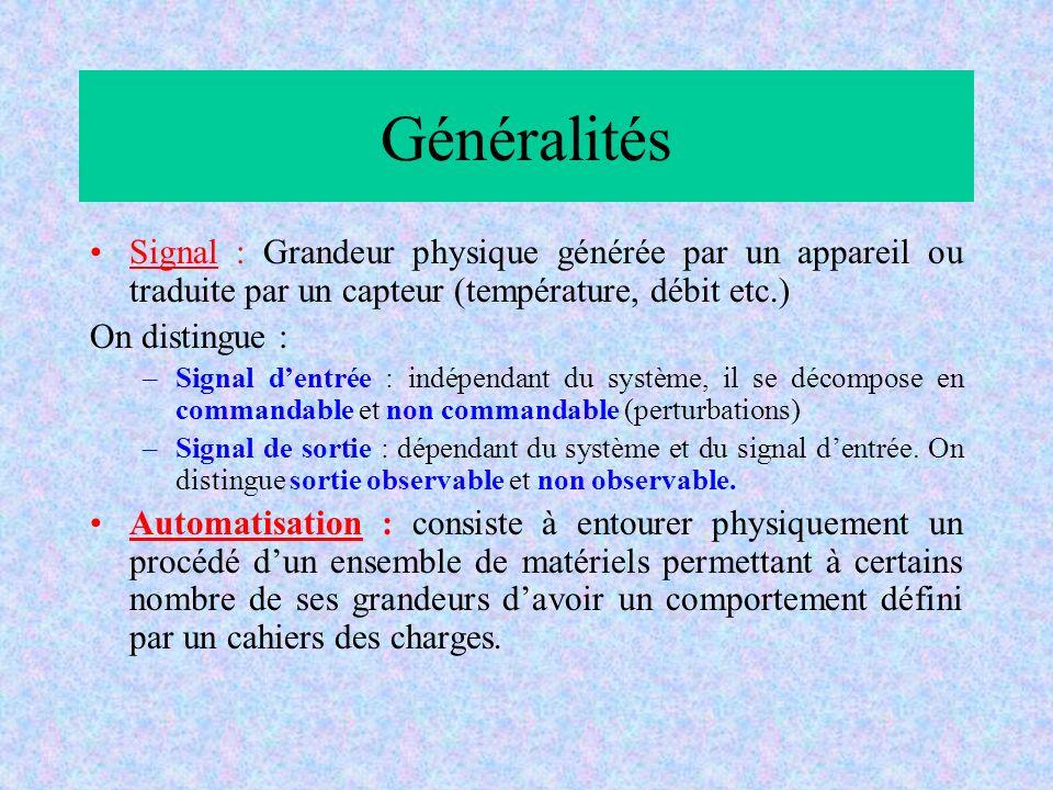 Généralités Signal : Grandeur physique générée par un appareil ou traduite par un capteur (température, débit etc.)