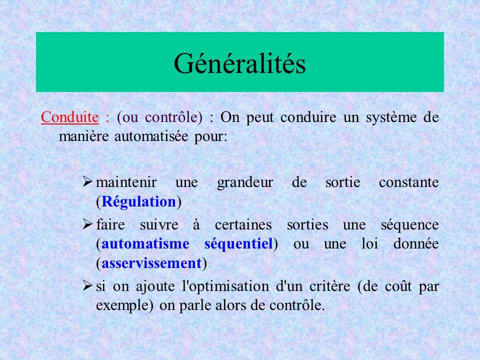 Généralités Conduite : (ou contrôle) : On peut conduire un système de manière automatisée pour: