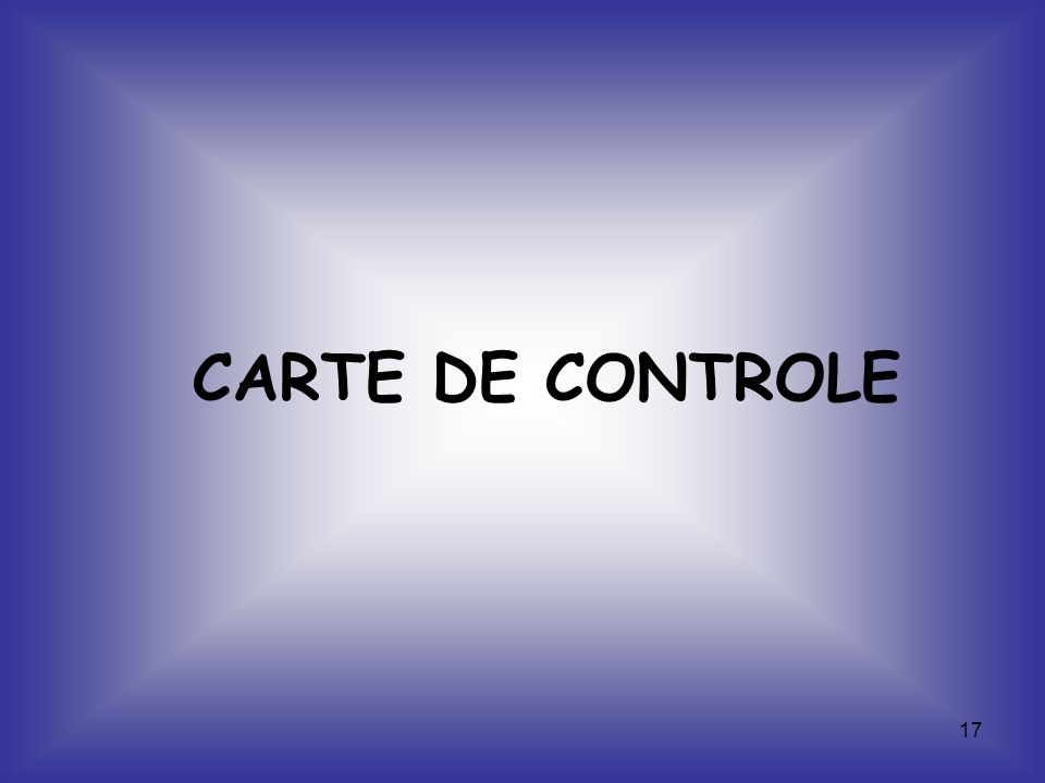 CARTE DE CONTROLE