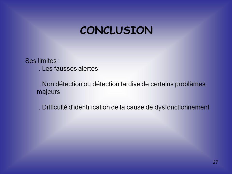CONCLUSION Ses limites : . Les fausses alertes