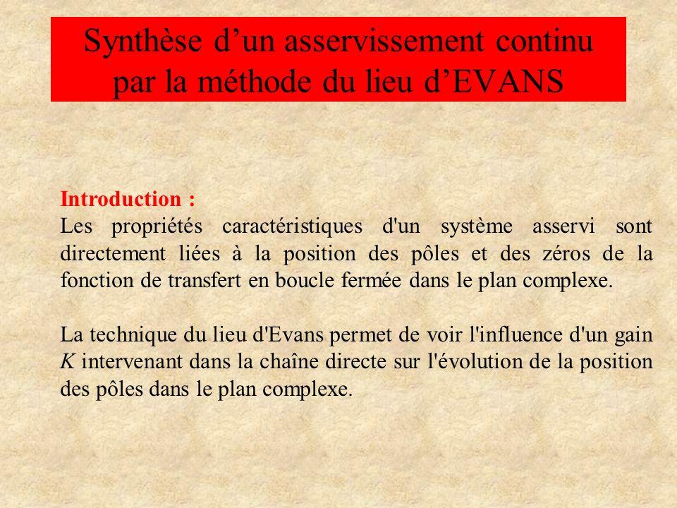 Synthèse d'un asservissement continu par la méthode du lieu d'EVANS