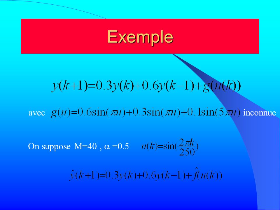 Exemple avec inconnue On suppose M=40 , a =0.5