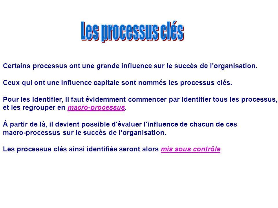 Les processus clés Certains processus ont une grande influence sur le succès de l organisation.