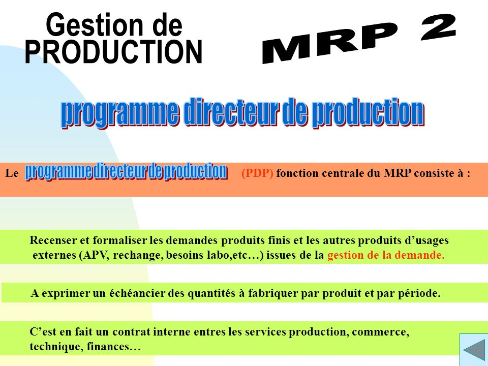 Gestion de PRODUCTION programme directeur de production MRP 2