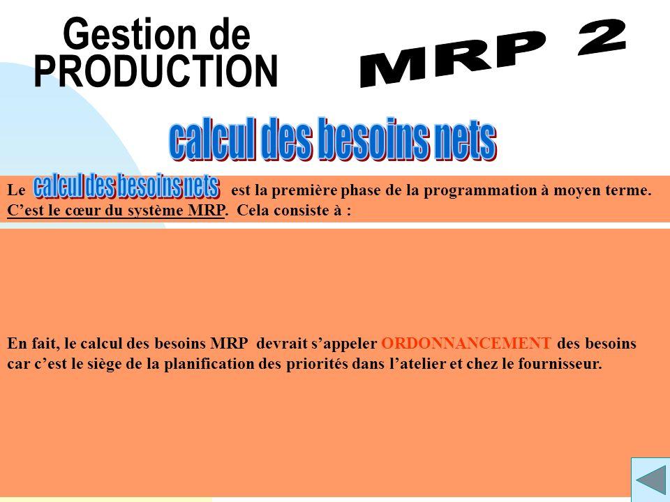 Gestion de PRODUCTION calcul des besoins nets MRP 2