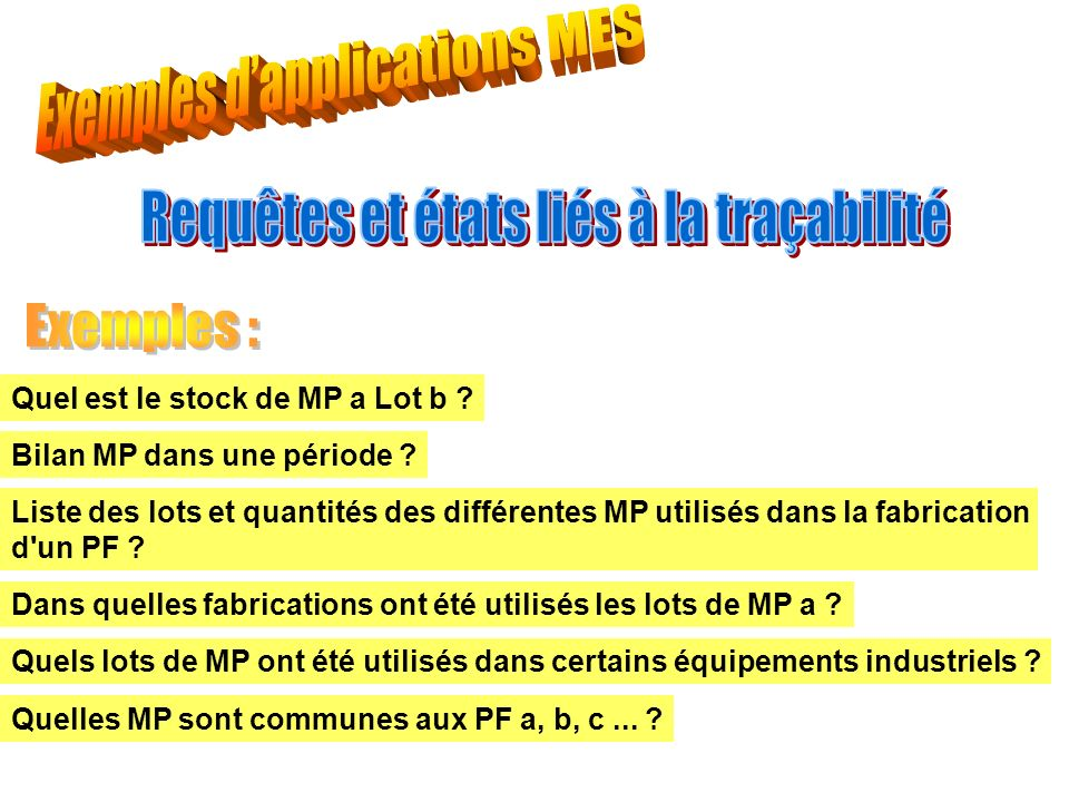 Exemples d'applications MES