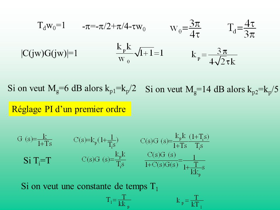 Tdw0=1-p=-p/2+p/4-tw0. |C(jw)G(jw)|=1. Si on veut Mg=6 dB alors kp1=kp/2. Si on veut Mg=14 dB alors kp2=kp/5.