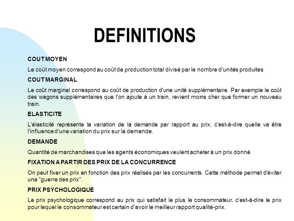 DEFINITIONS COUT MOYEN