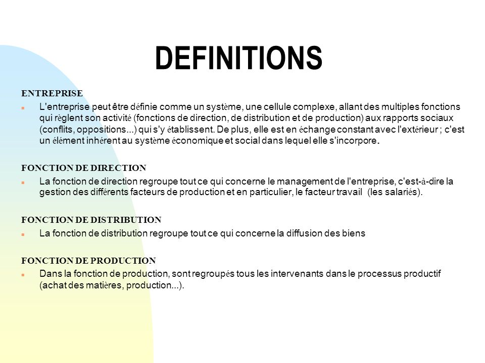 DEFINITIONS ENTREPRISE