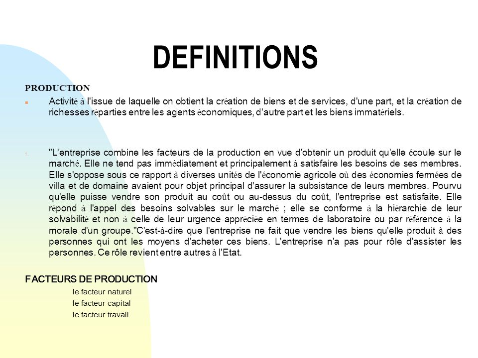 DEFINITIONS PRODUCTION