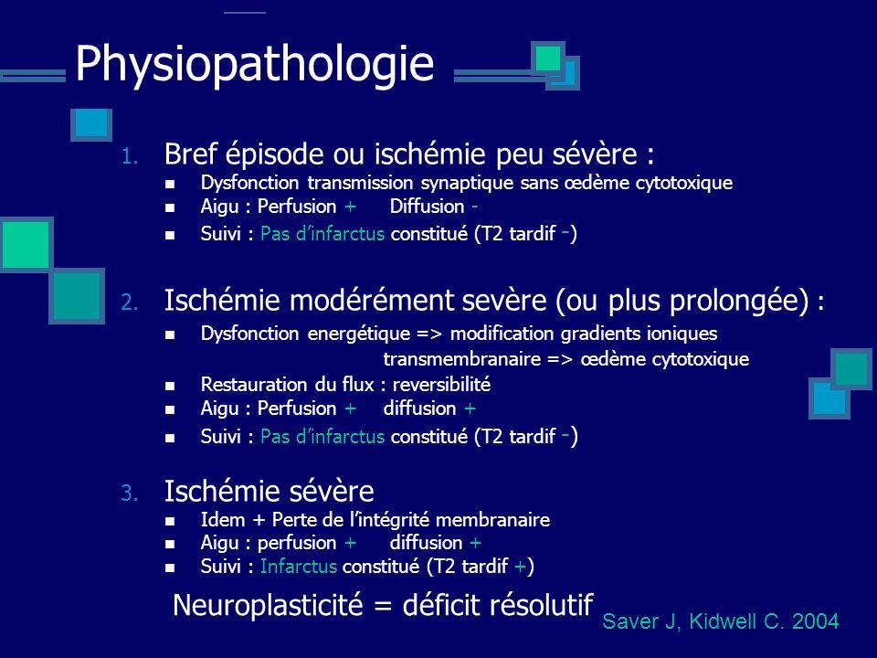 Physiopathologie Bref épisode ou ischémie peu sévère :