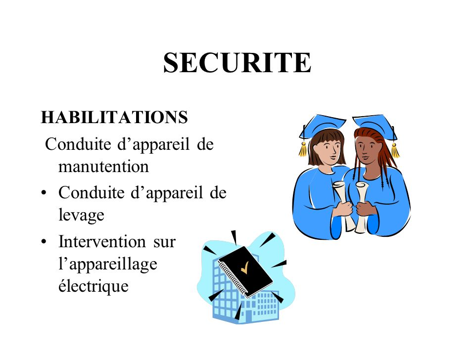SECURITE HABILITATIONS Conduite d'appareil de manutention