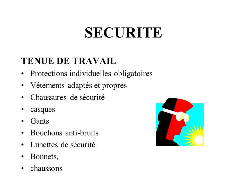SECURITE TENUE DE TRAVAIL Protections individuelles obligatoires
