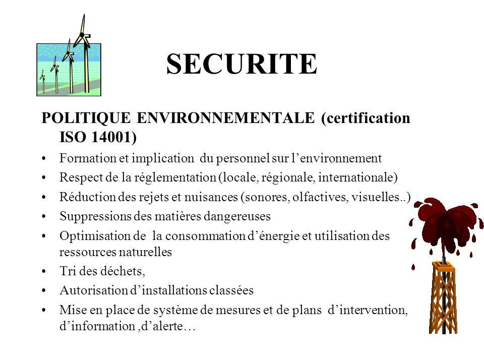 SECURITE POLITIQUE ENVIRONNEMENTALE (certification ISO 14001)