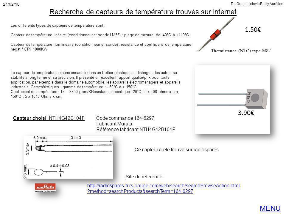 Recherche de capteurs de température trouvés sur internet
