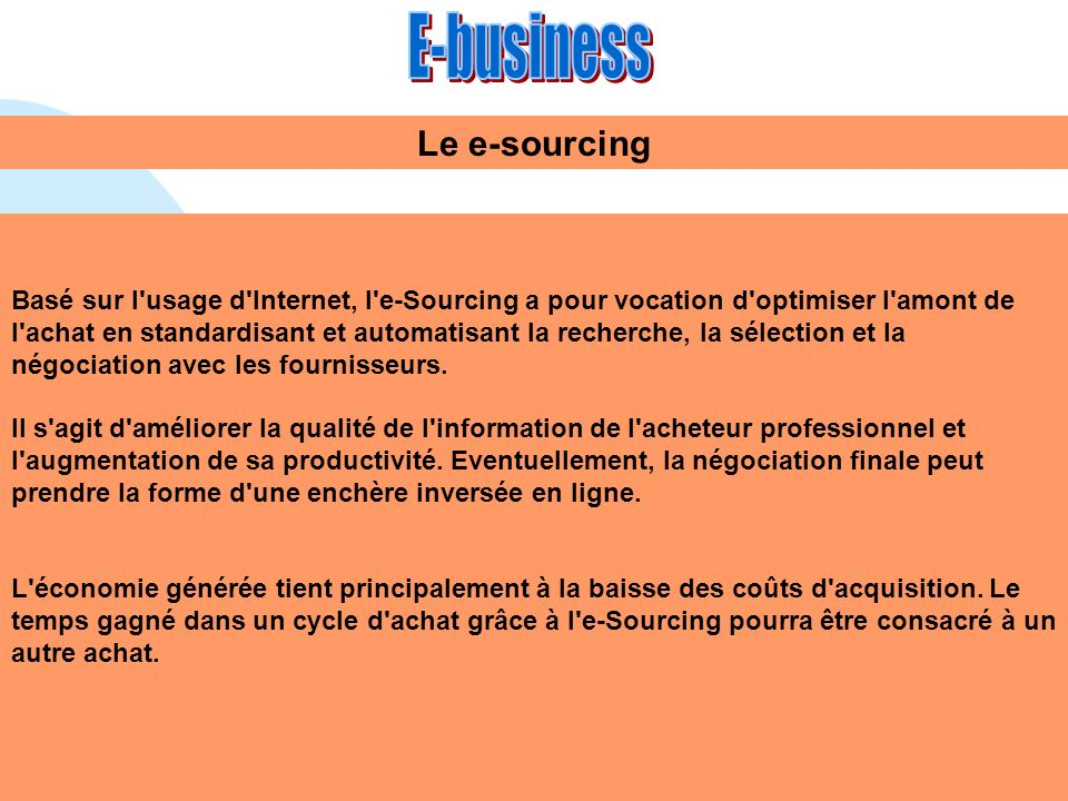 E-business Le e-sourcing