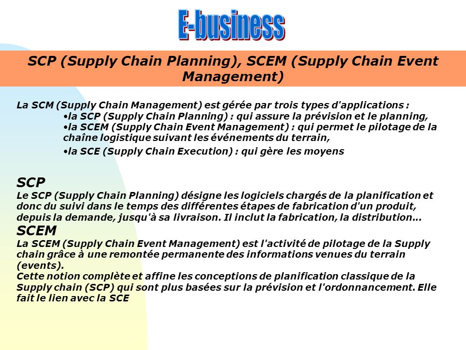 SCP (Supply Chain Planning), SCEM (Supply Chain Event Management)