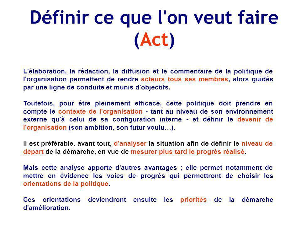 Définir ce que l on veut faire (Act)