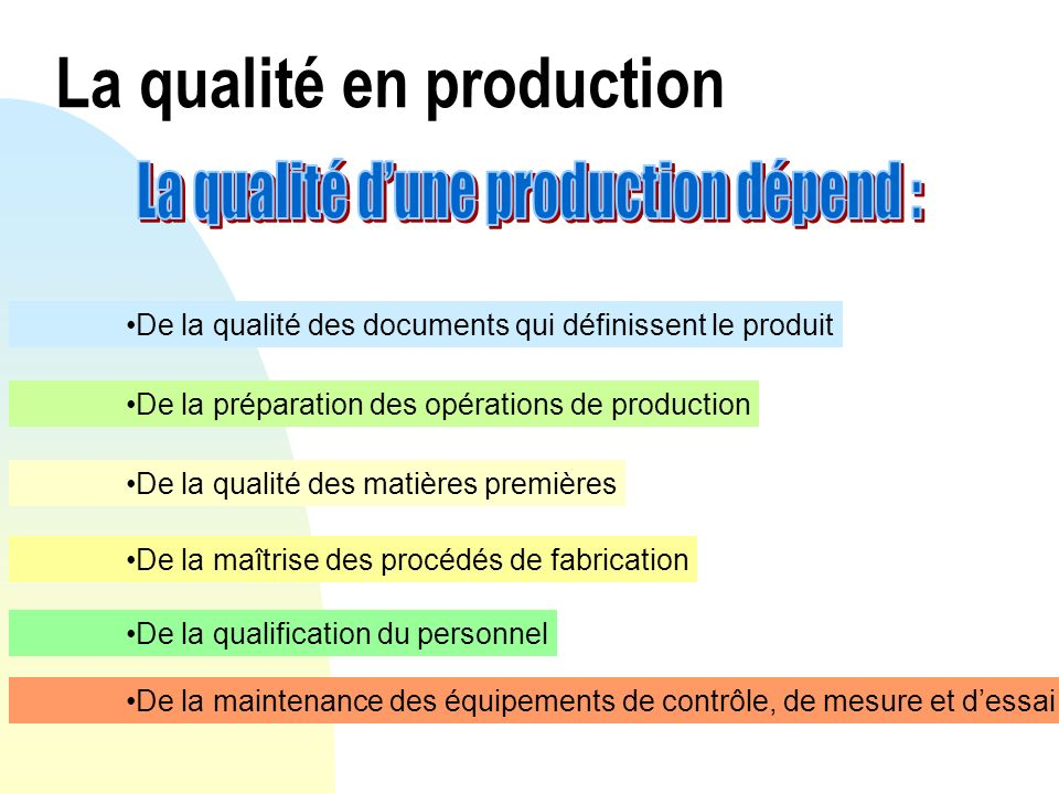 La qualité en production