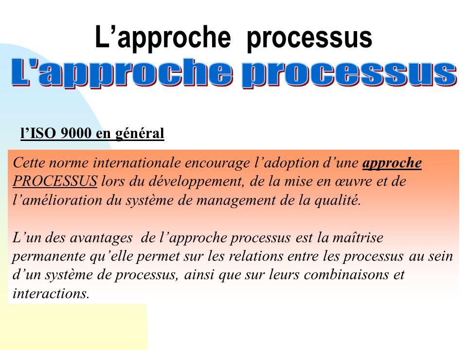 L'approche processus L approche processus l'ISO 9000 en général