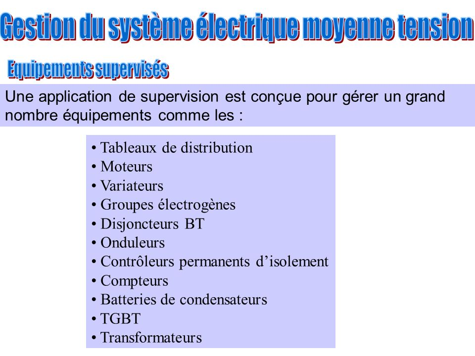 Gestion du système électrique moyenne tension