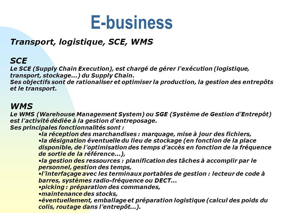 E-business Transport, logistique, SCE, WMS SCE WMS