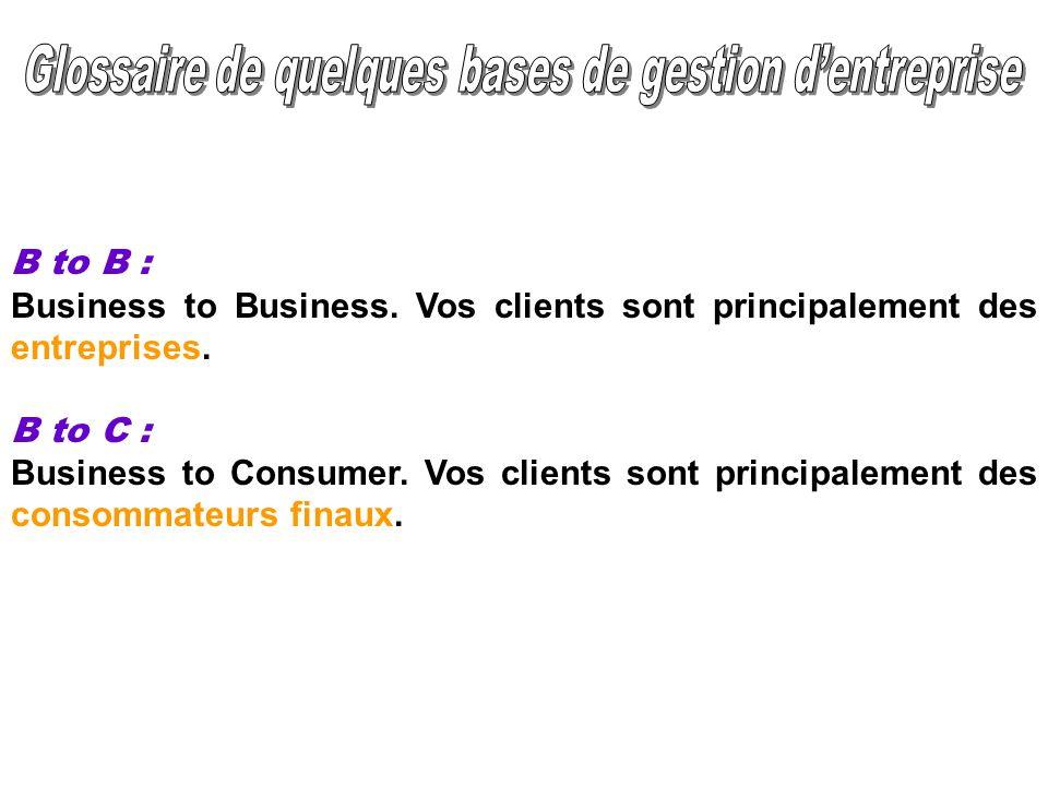 Glossaire de quelques bases de gestion d'entreprise