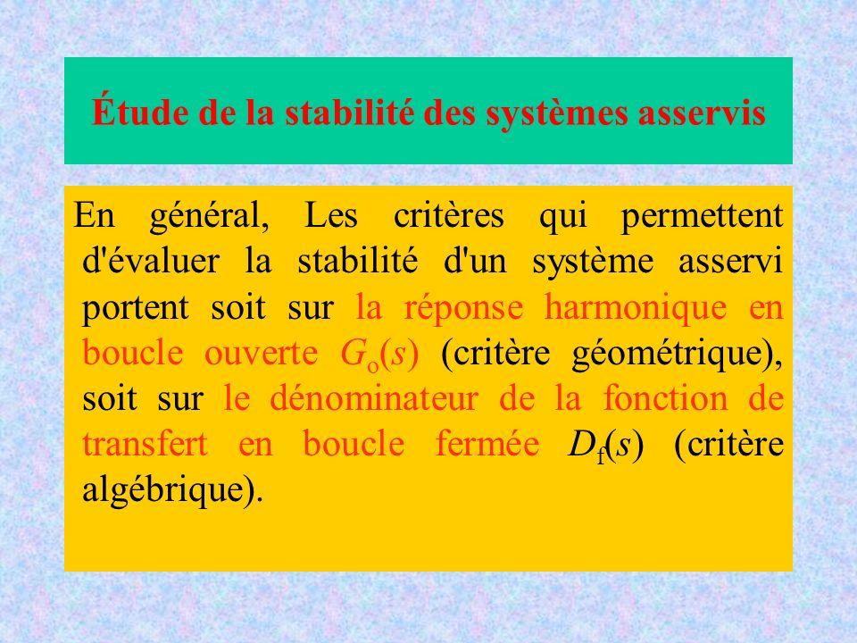 Étude de la stabilité des systèmes asservis