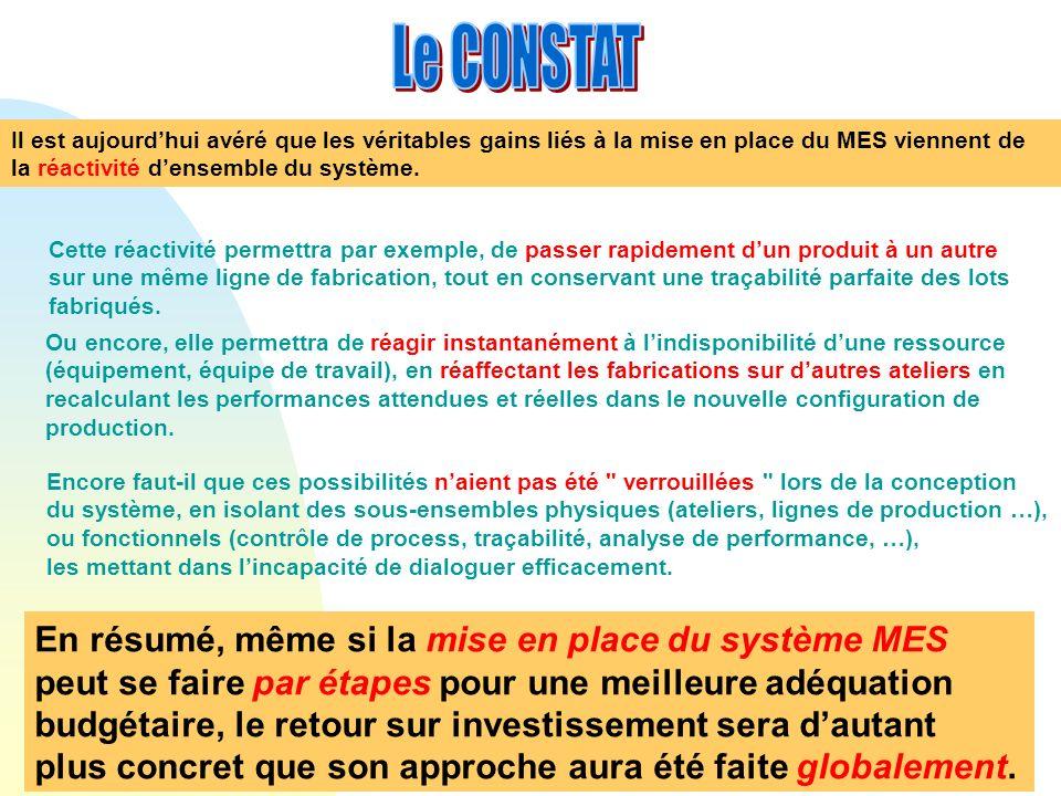 Le CONSTAT En résumé, même si la mise en place du système MES