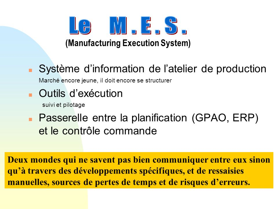(Manufacturing Execution System)