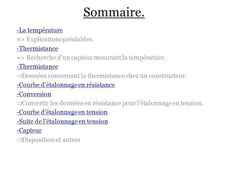 Sommaire. -La température => Explications préalables. -Thermistance