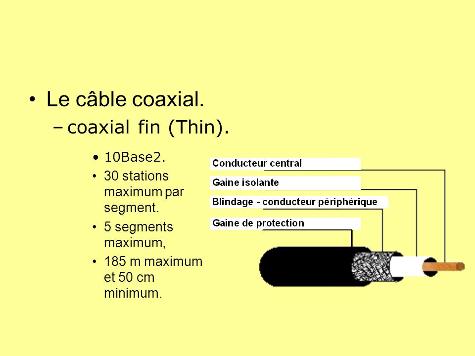 Le câble coaxial. coaxial fin (Thin). 10Base2.