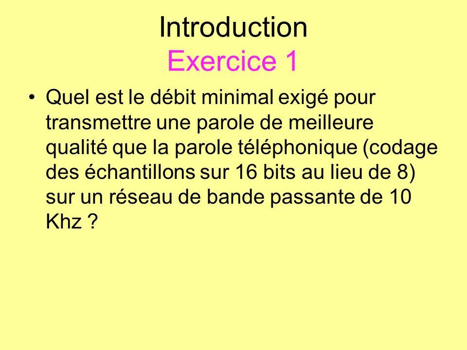 Introduction Exercice 1