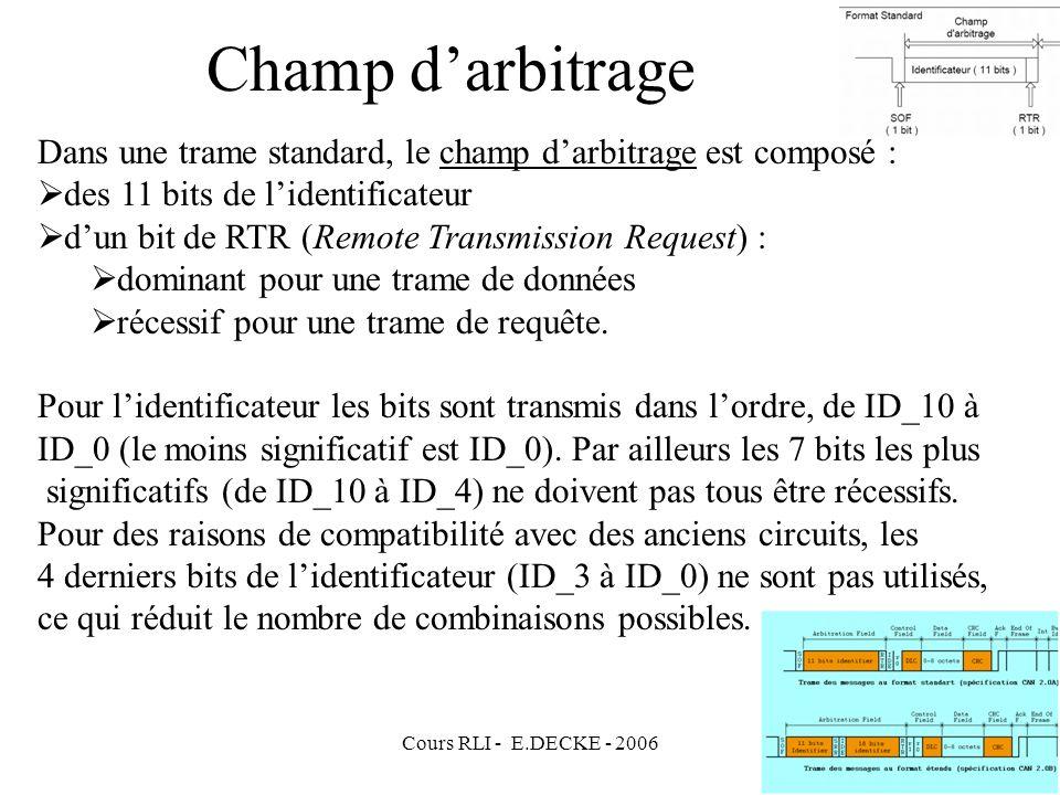Champ d'arbitrage Dans une trame standard, le champ d'arbitrage est composé : des 11 bits de l'identificateur.