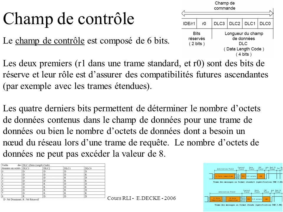 Champ de contrôle Le champ de contrôle est composé de 6 bits.