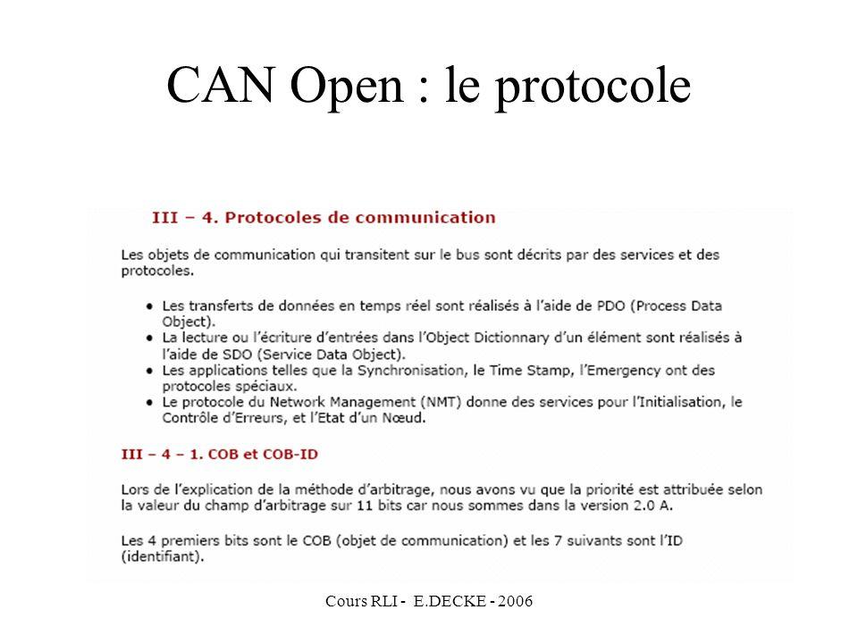 CAN Open : le protocole Cours RLI - E.DECKE - 2006
