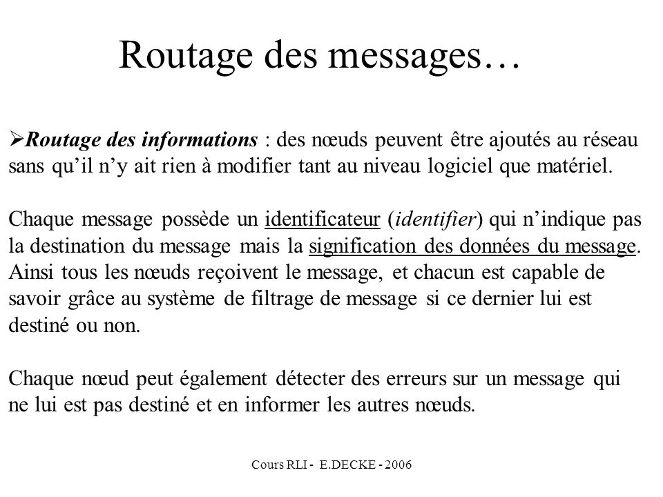 Routage des messages…