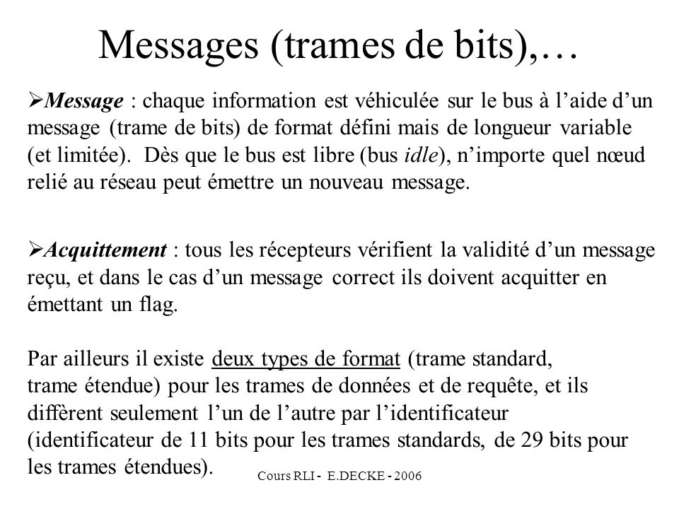 Messages (trames de bits),…