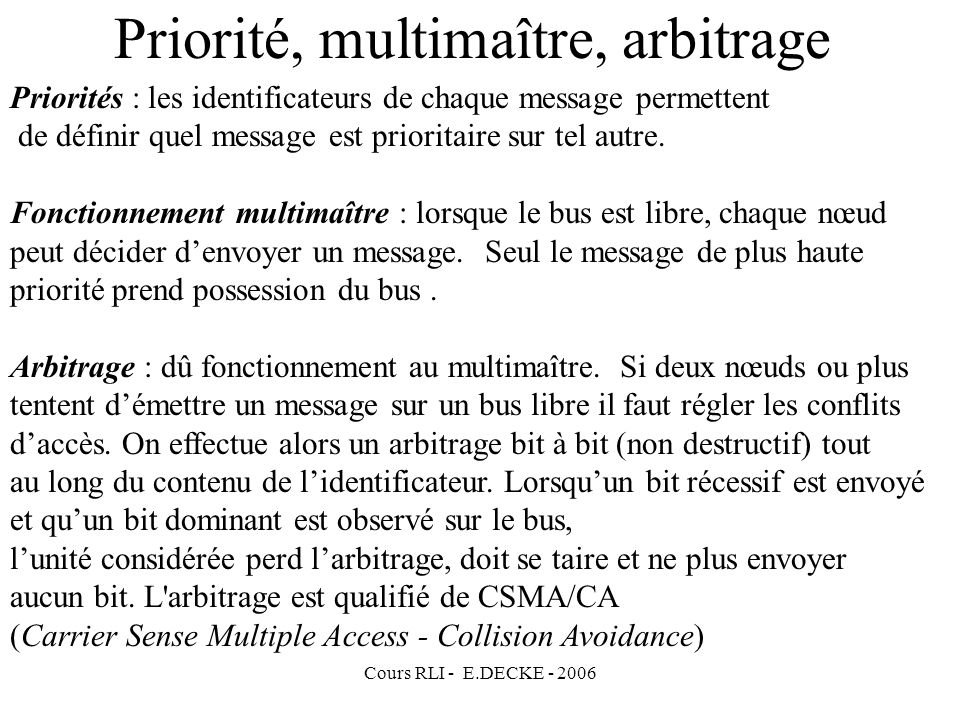 Priorité, multimaître, arbitrage