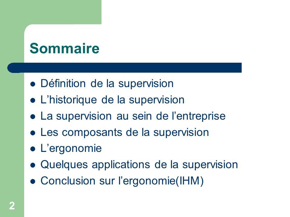 Sommaire Définition de la supervision L'historique de la supervision