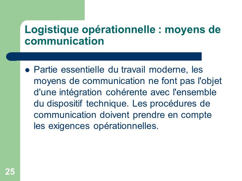 Logistique opérationnelle : moyens de communication