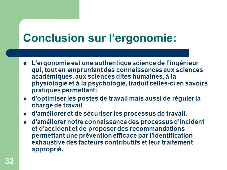 Conclusion sur l'ergonomie: