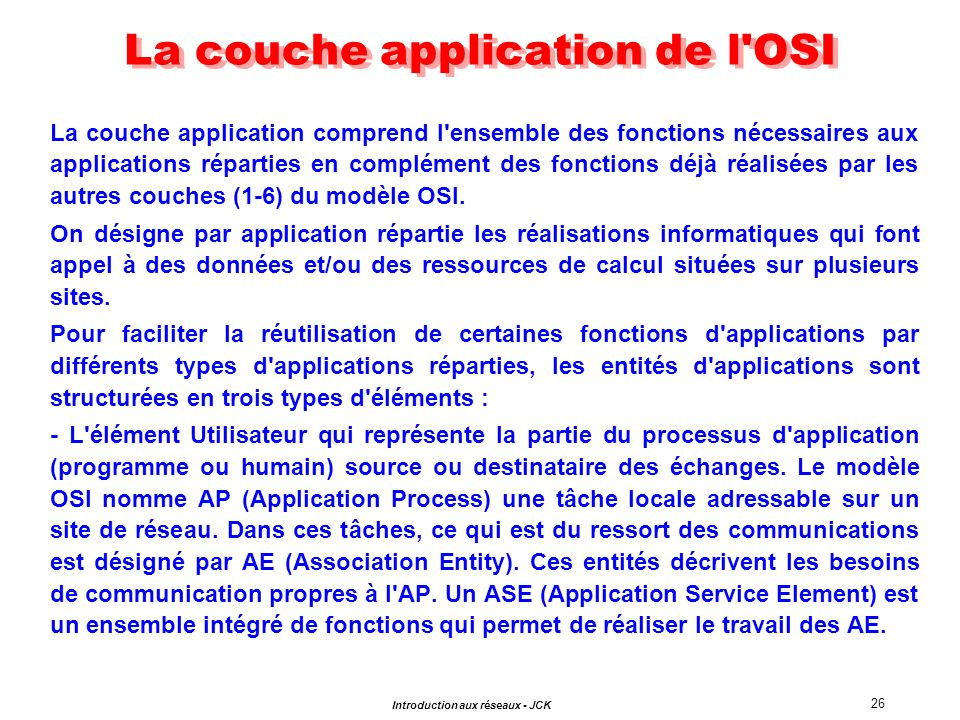 La couche application de l OSI
