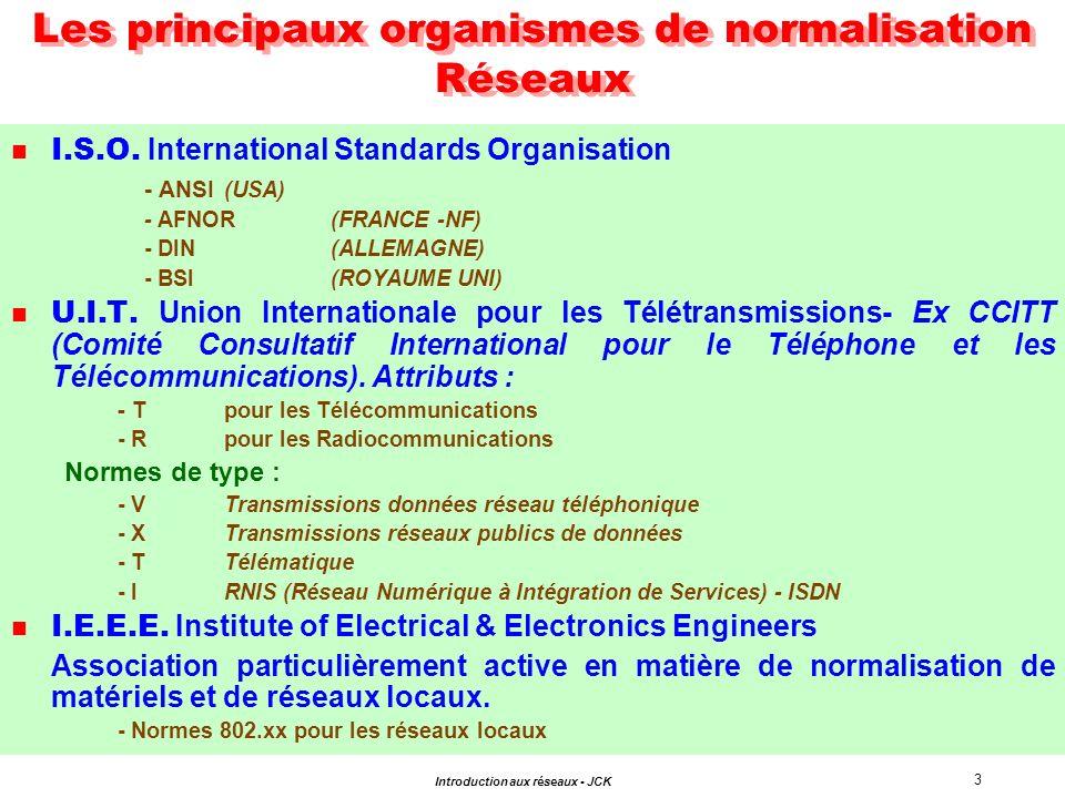 Les principaux organismes de normalisation Réseaux