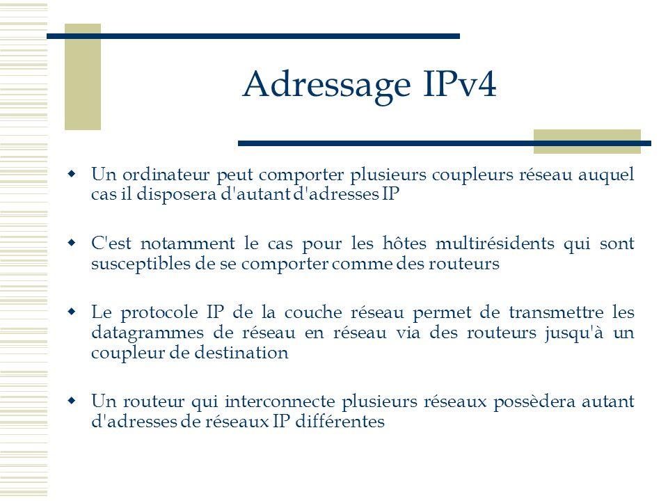 Adressage IPv4 Un ordinateur peut comporter plusieurs coupleurs réseau auquel cas il disposera d autant d adresses IP.