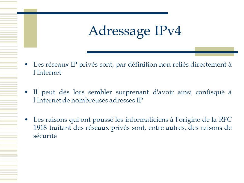 Adressage IPv4 Les réseaux IP privés sont, par définition non reliés directement à l Internet.