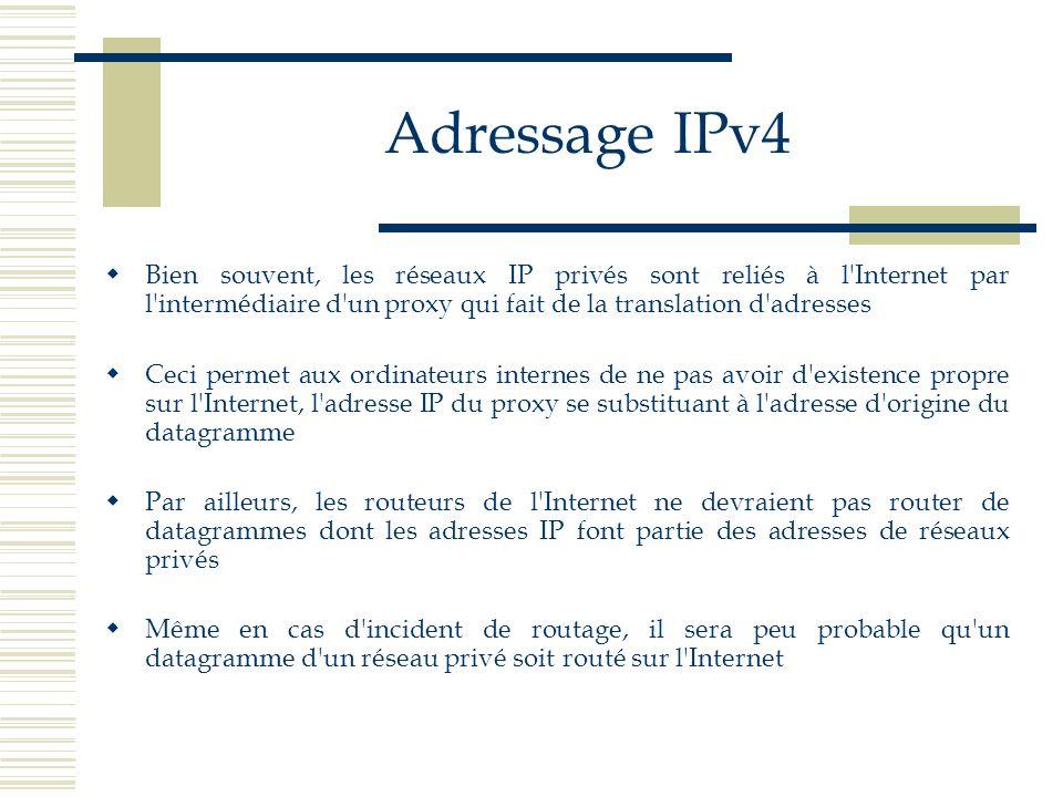 Adressage IPv4 Bien souvent, les réseaux IP privés sont reliés à l Internet par l intermédiaire d un proxy qui fait de la translation d adresses.