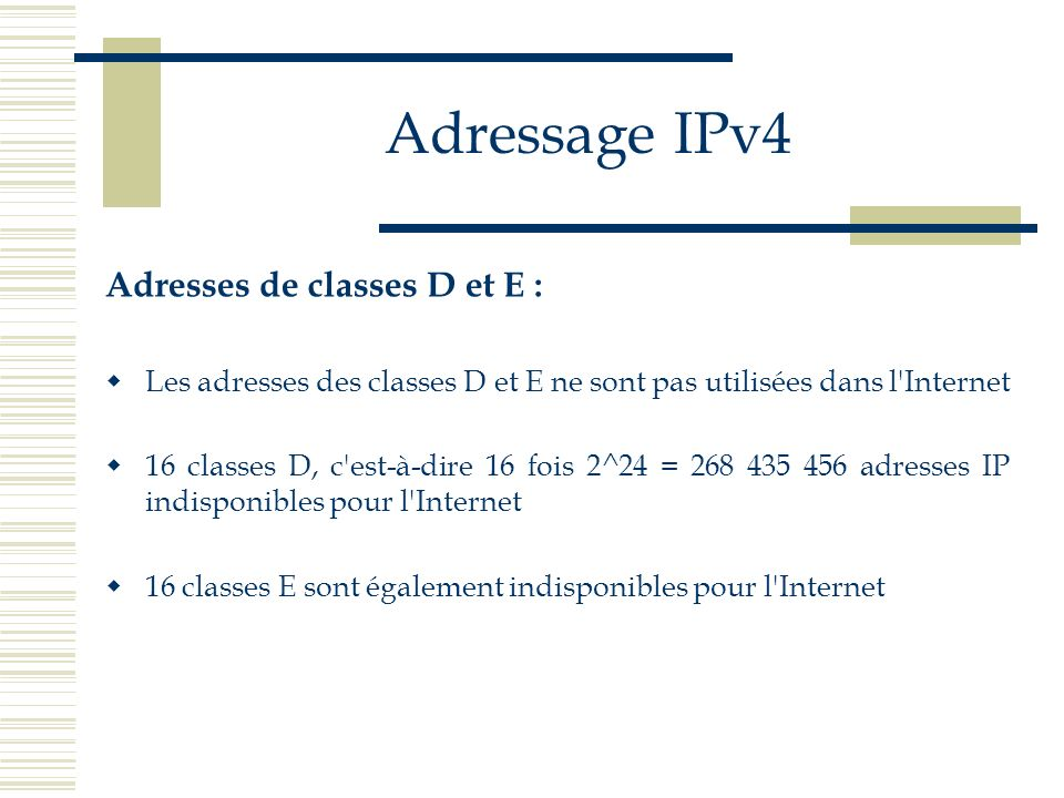 Adressage IPv4 Adresses de classes D et E :